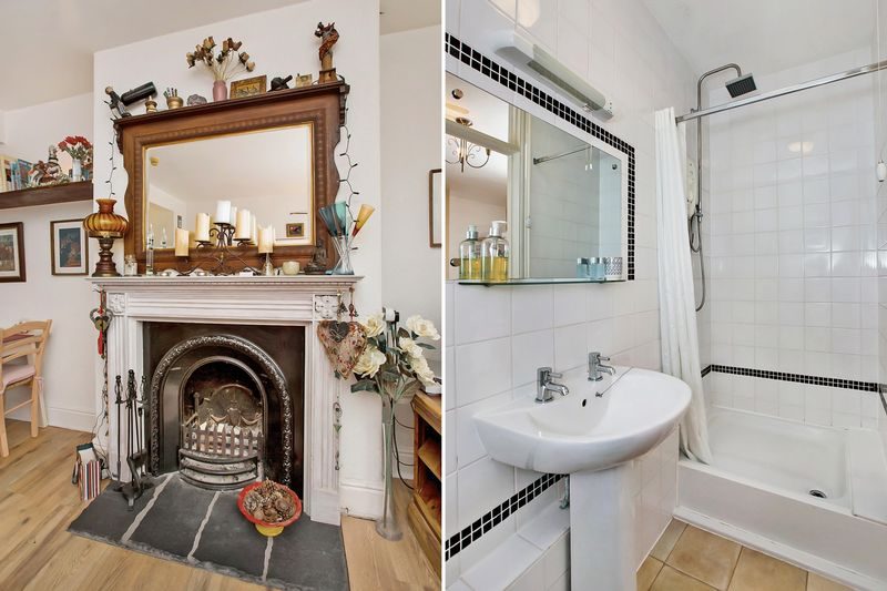fireplace/shower room