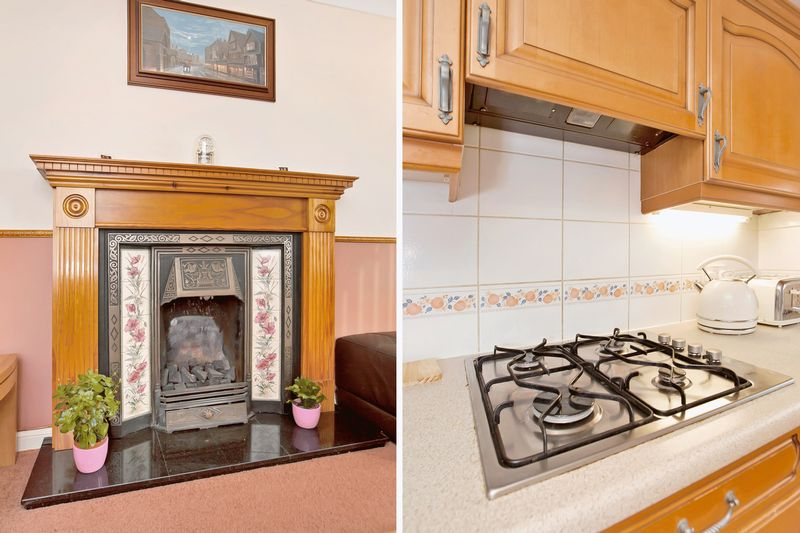fireplace/kitchen