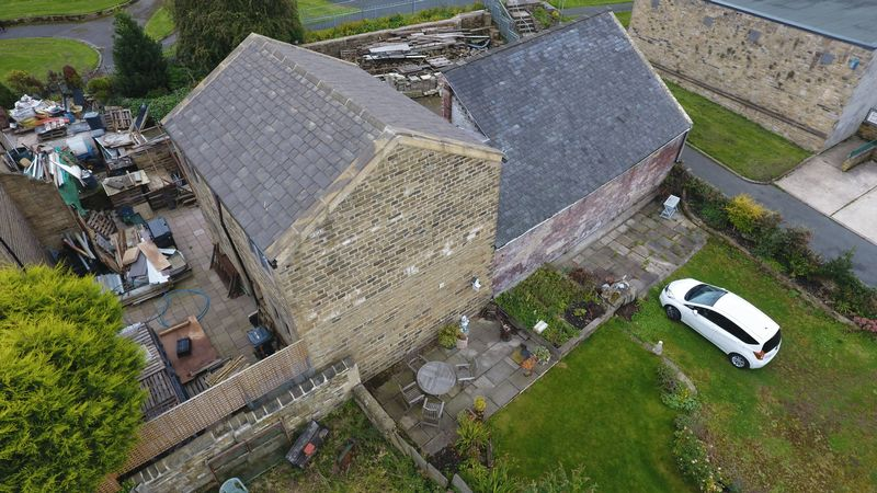 Aerial view of barn and coach house