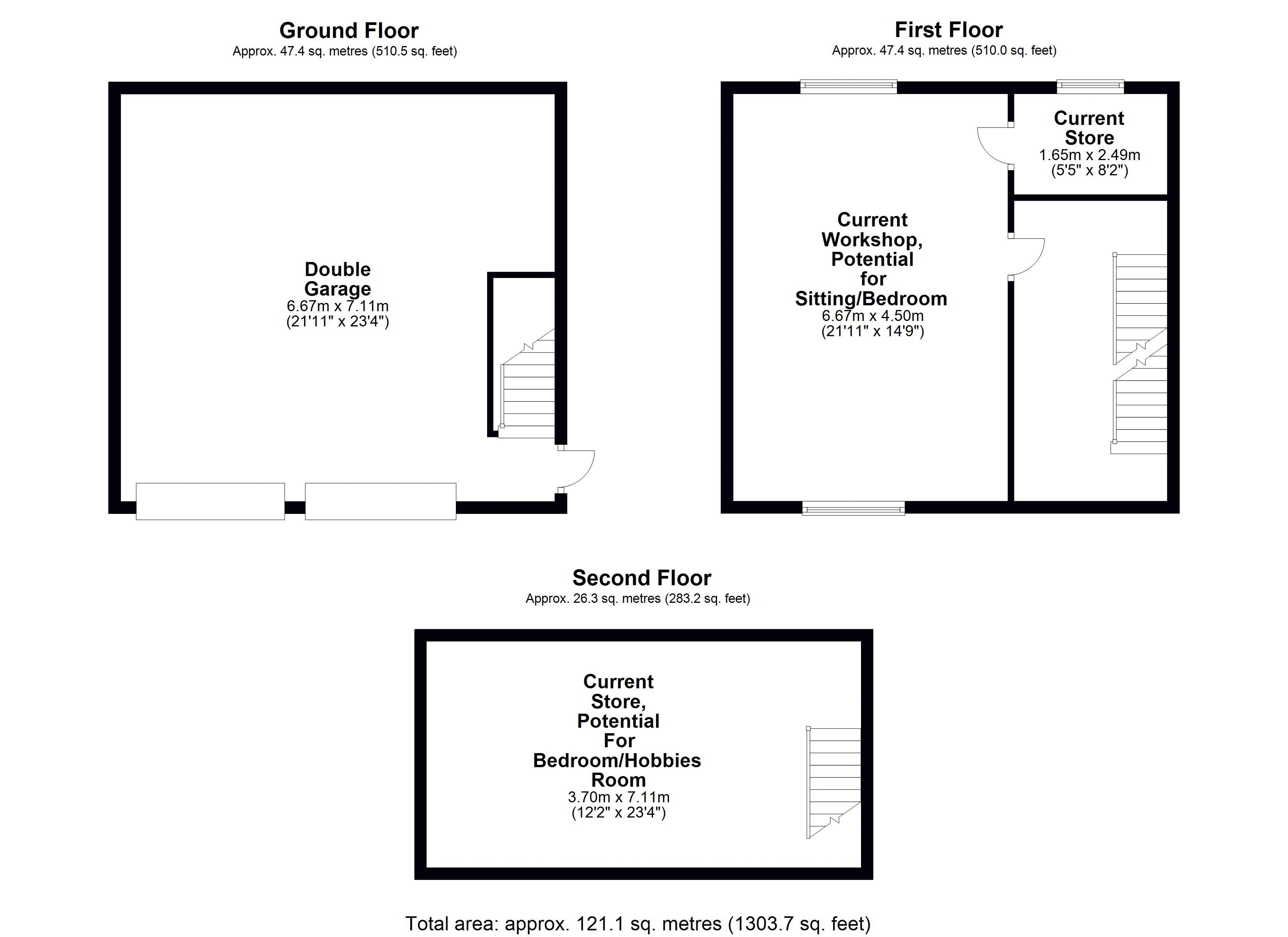 Garage Building Ground, First & Second Floor Plan