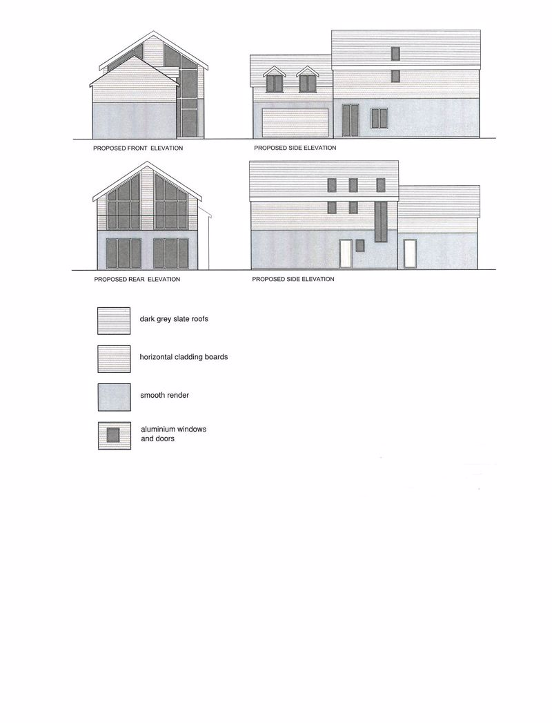 proposed front, side and rear elevation