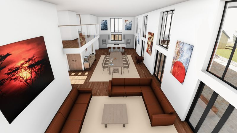 Open plan living space with double height