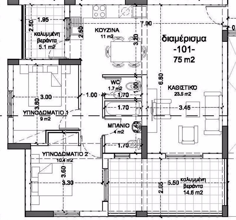 2 Bed with 2 bath layout