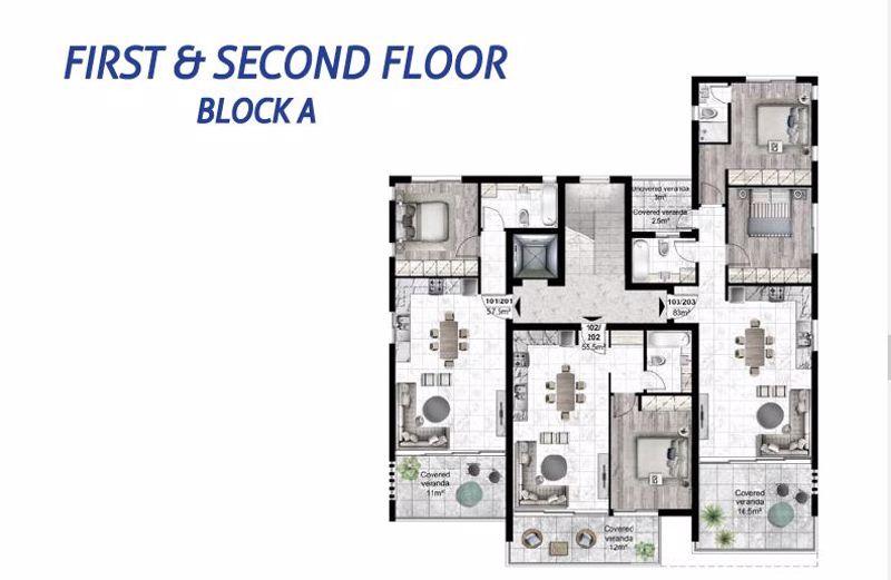 Block A floor plans