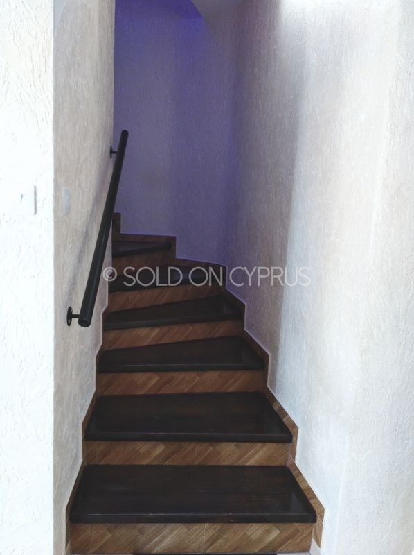 Wood Stairs with Feature Blue Lighting