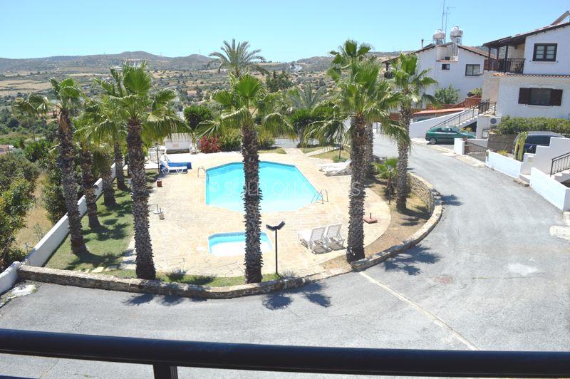 Balcony bedroom view of swimming pool