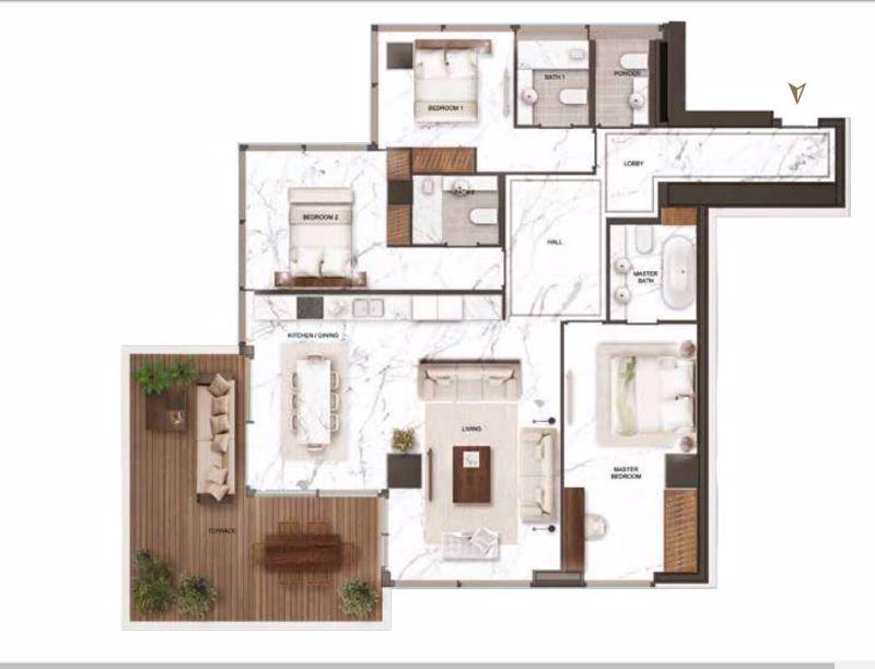 3 bedroom penthouse floor plans