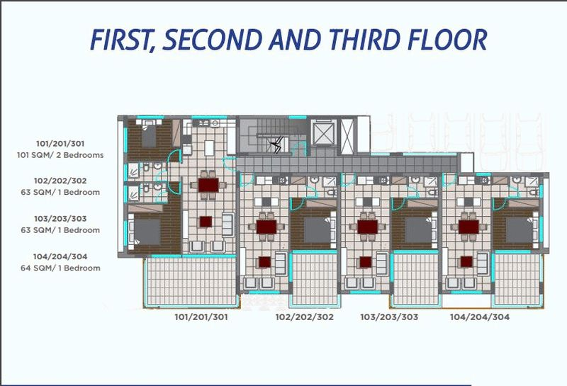 1st - 2nd - 3rd floor plans
