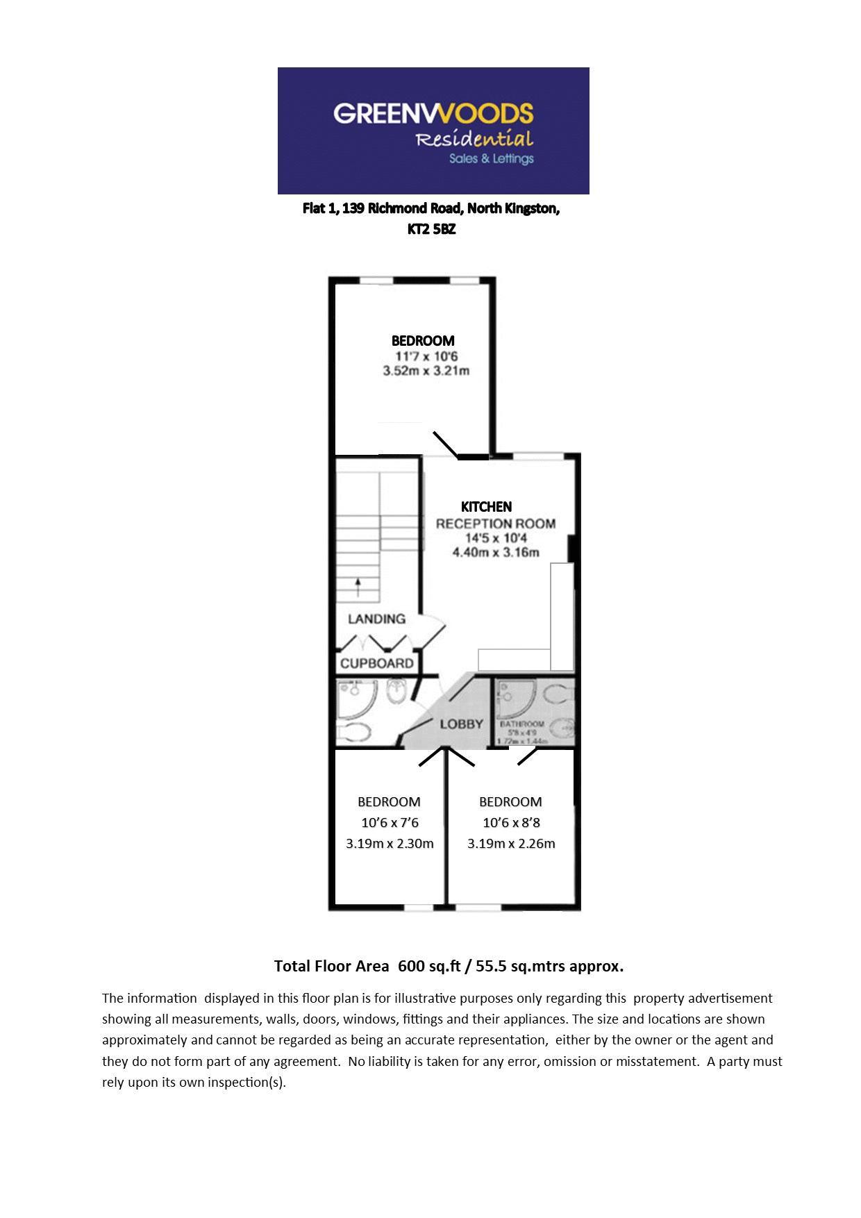 2D Floor plan Flat 1 first floor