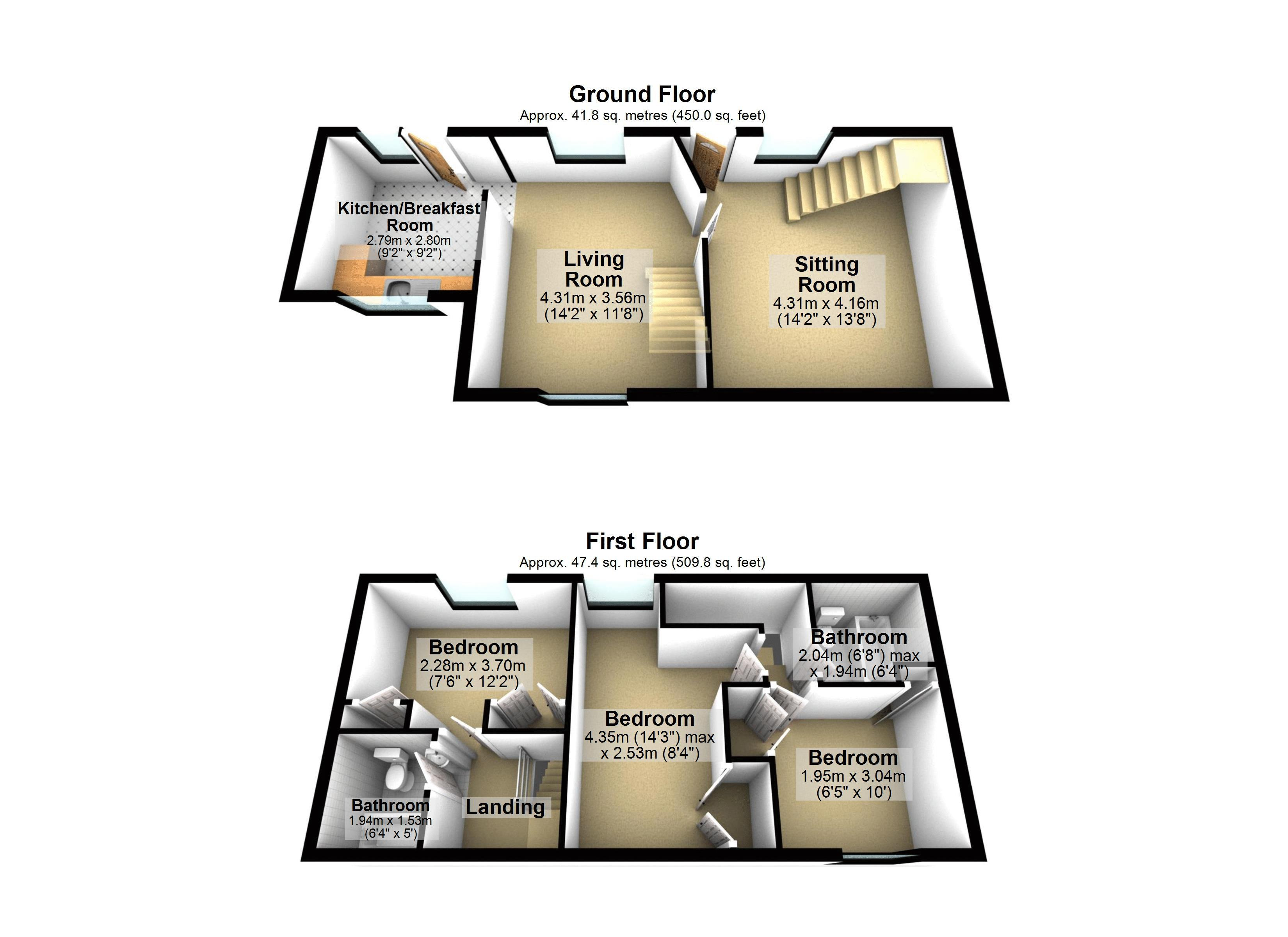Cottage - 3D Floor Plan