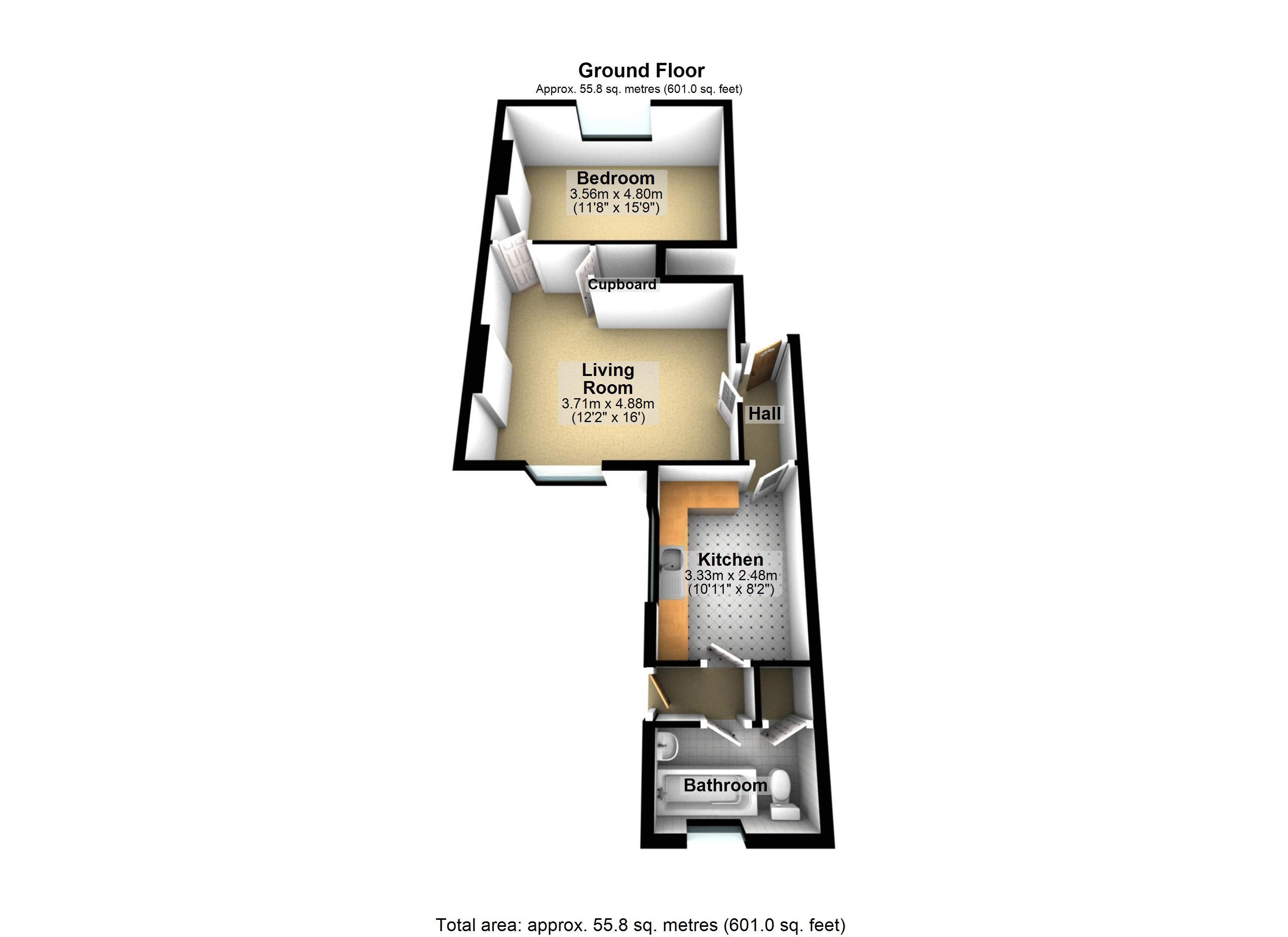 Ground Floor Flat - 3D Floor Plan
