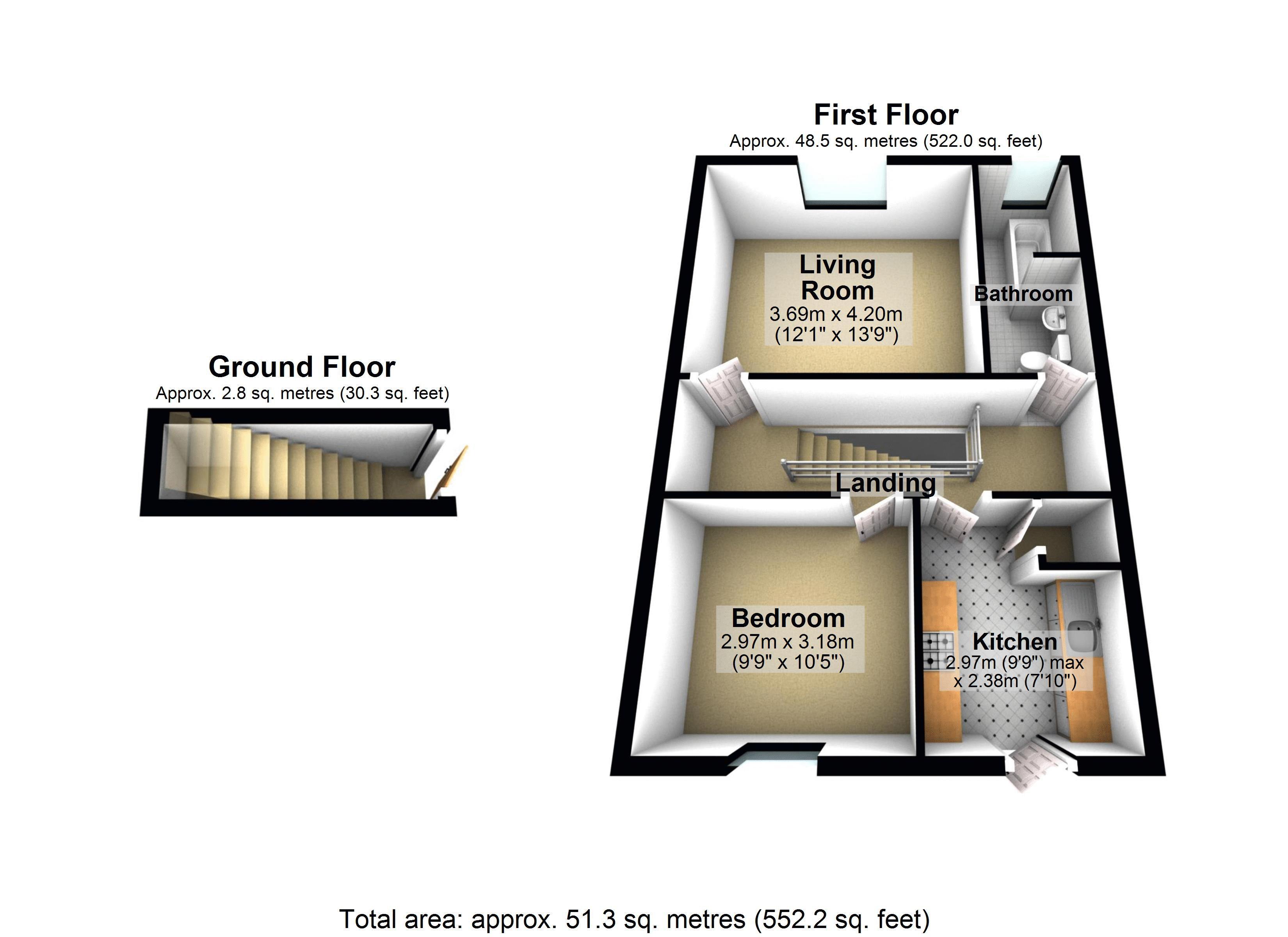 First Floor Flat - 3D Floor Plan