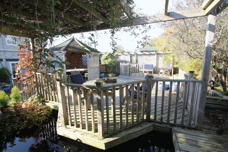 Decked garden and pond