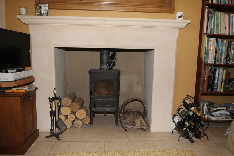 Sitting room fireplace with Morso stove