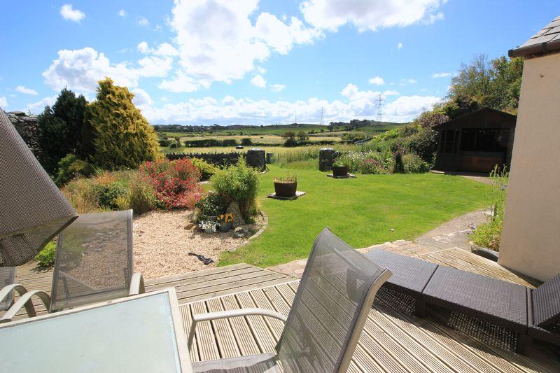 rear decking and garden to fields