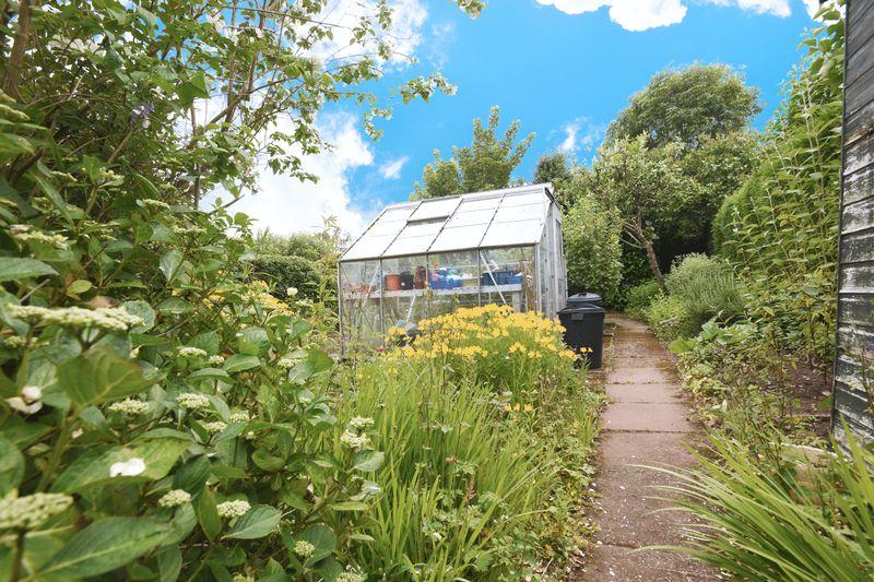 Rear garden greenhouse area