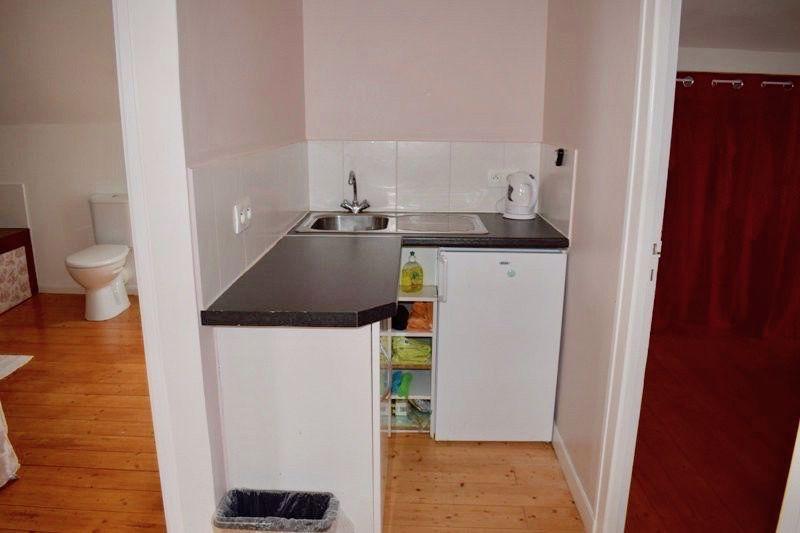 The apartment kitchen area