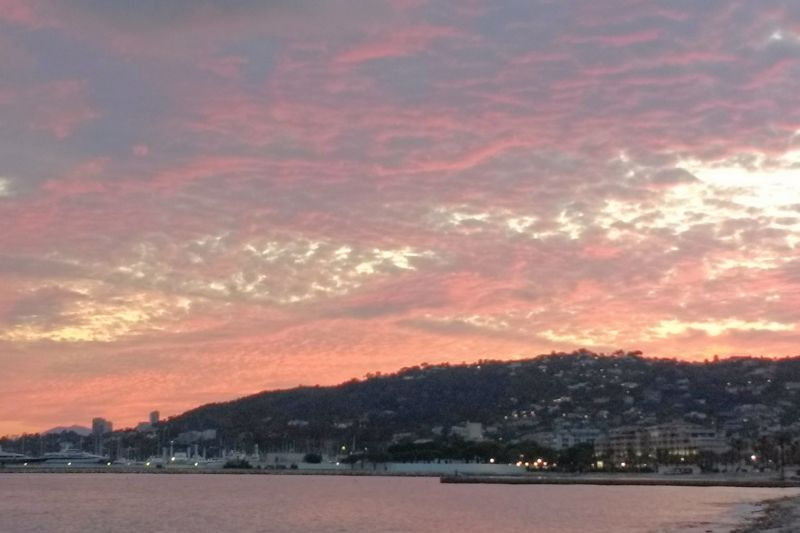 Sunset looking towards Golfe Juan from the beach