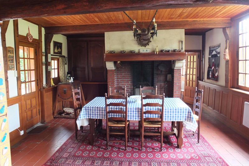 The main living room and fireplace