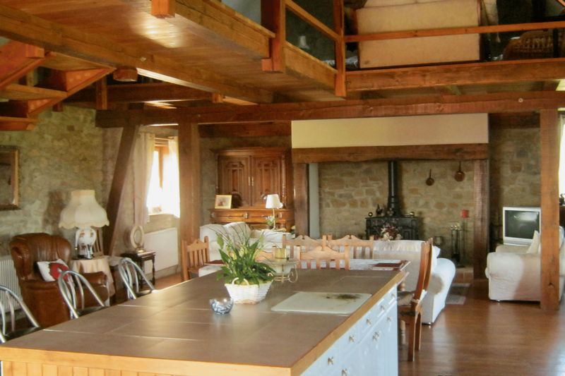 The barn kitchen and living area