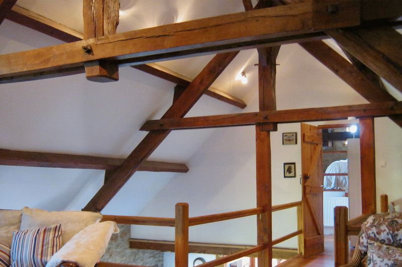 The barn mezzanine between the sitting area and a