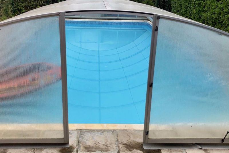 The pool showing the cover in place