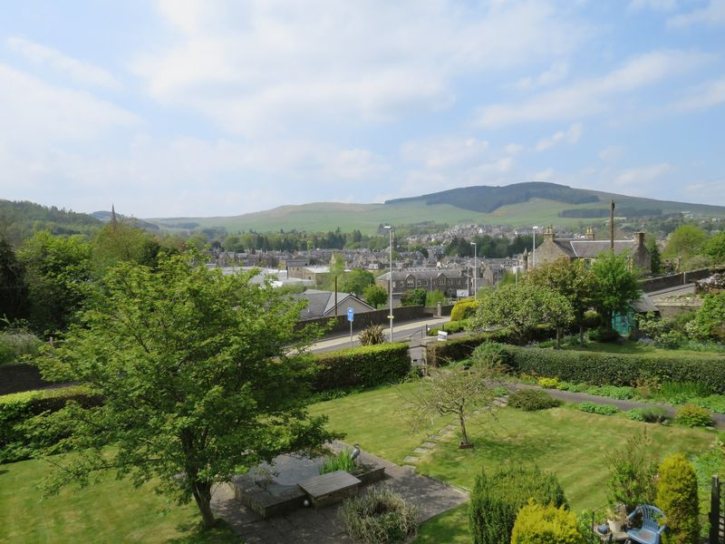 View over garden and town