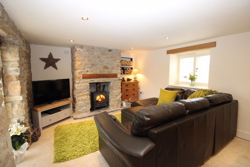 Living area with woodburning stove