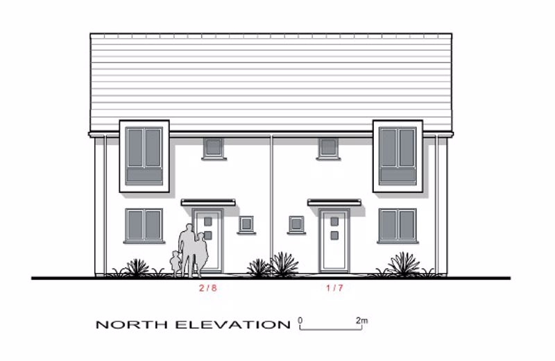North Elevation plots 1,2,7,8.