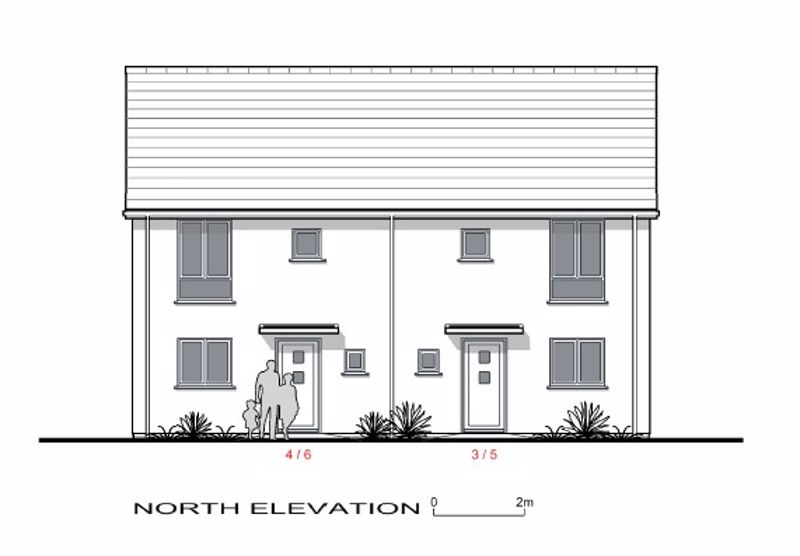 North Elevation Plots 3,4,5,6.