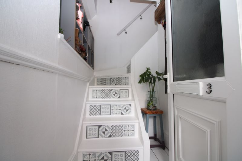 Private stairs to apartment