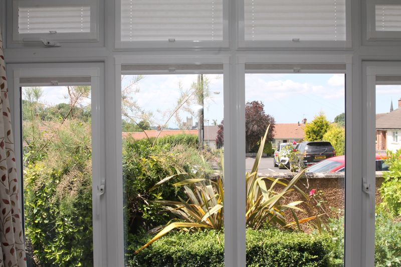 Bay window in the sitting room with Cathedral view