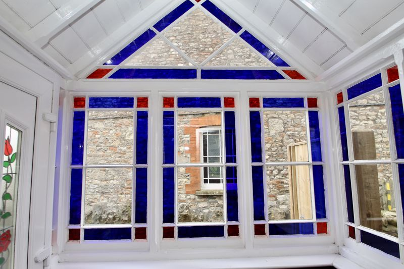 Stained glass in porch