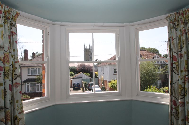Bay window in bedroom 1 with view of St Cuthbert's