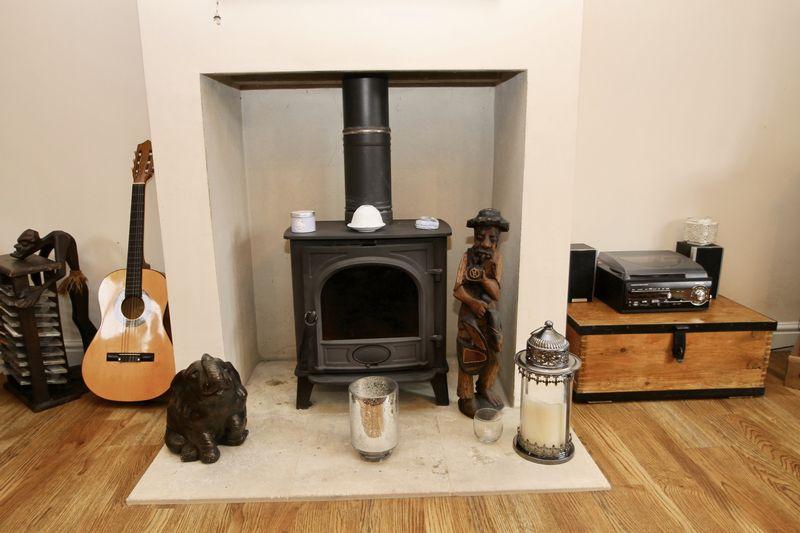 Wood burner in sitting room