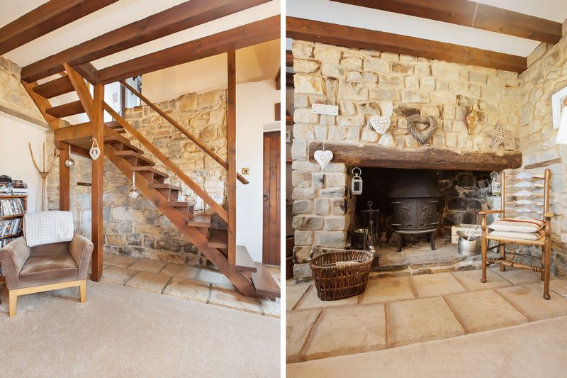 staircase/fireplace