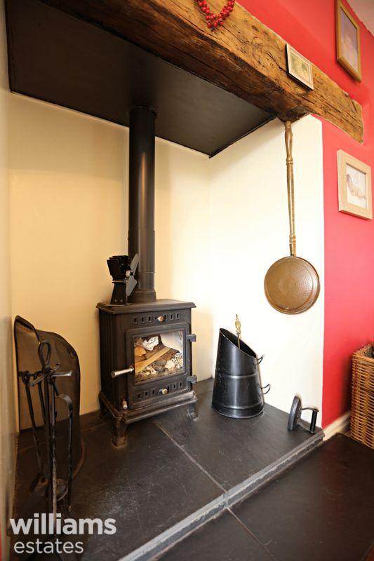 Log Burner in Dining Room