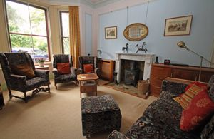 Sitting room with woodburning stove