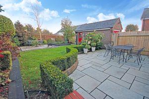 Garden and single detached garage