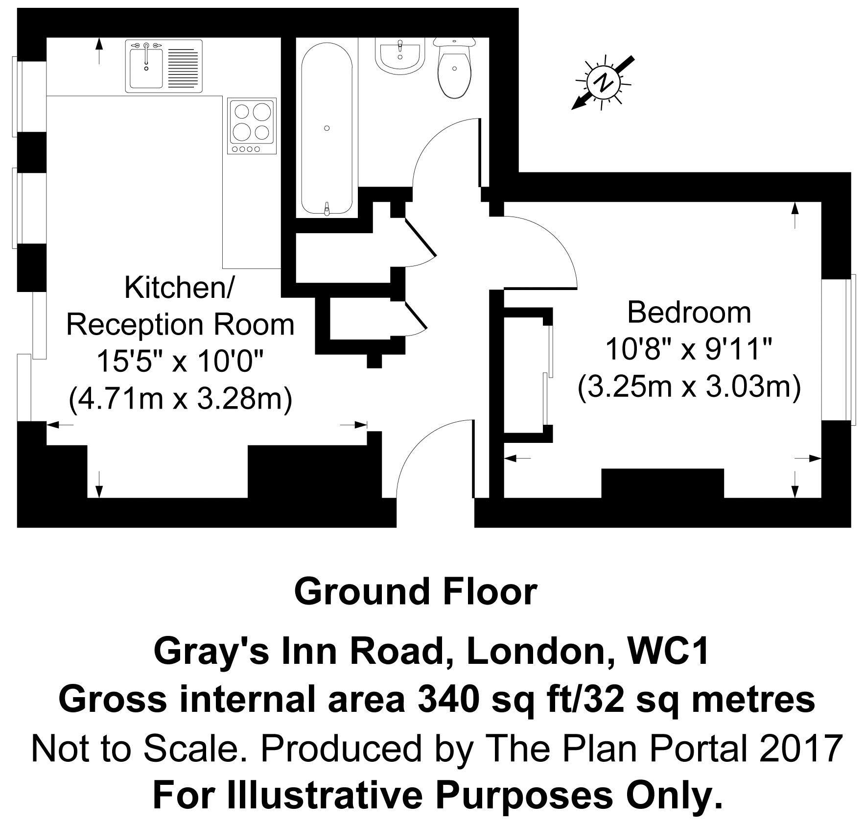 Floorplan - Flat H, 151 Gray's Inn Road