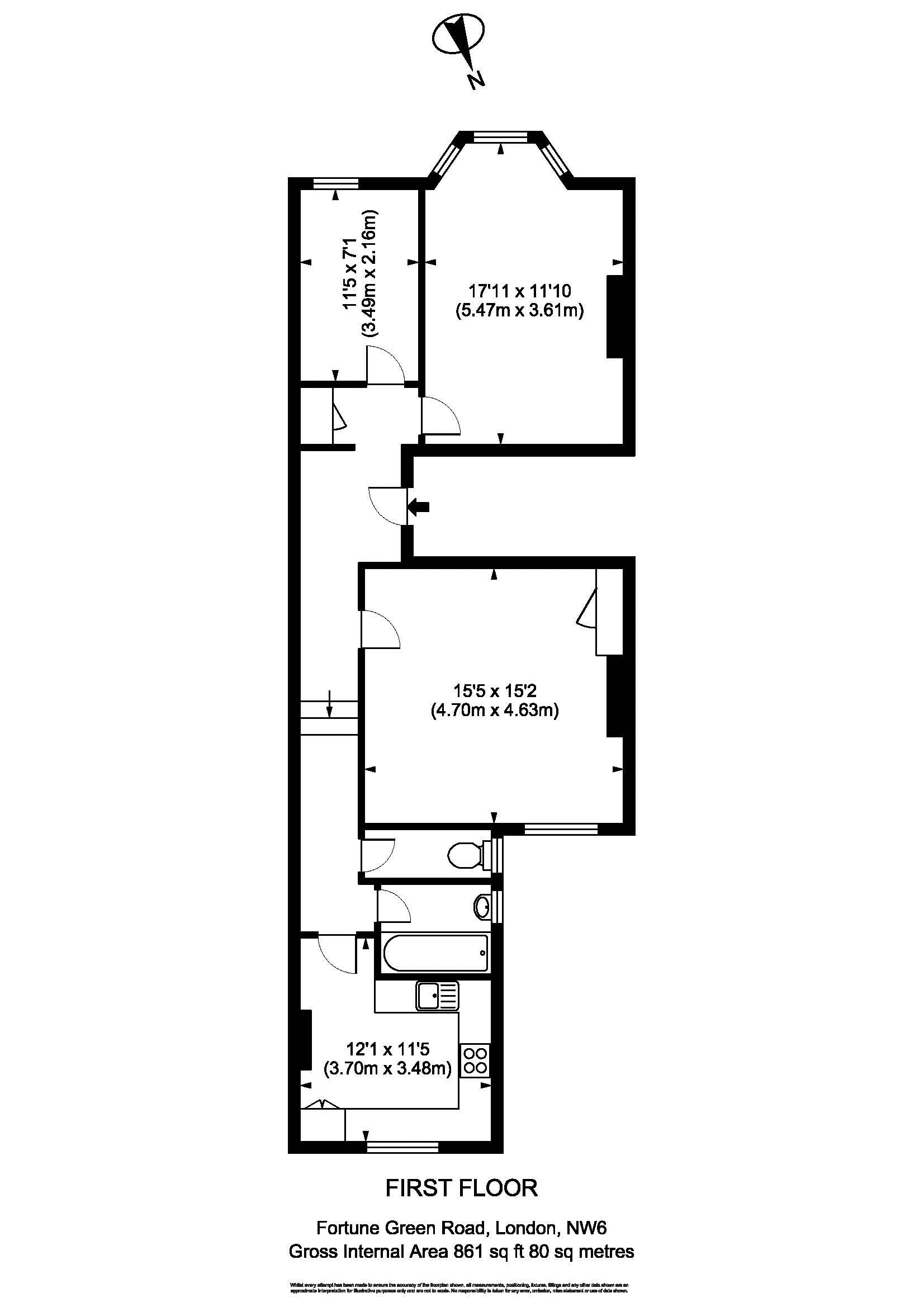 Floorplan - 24B Fortune Green Road