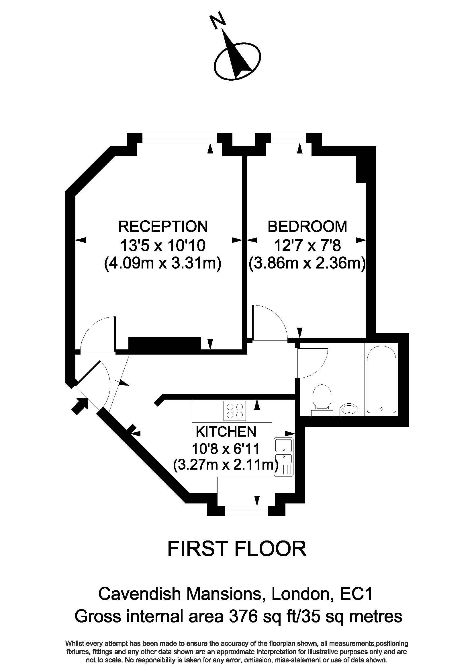 Floorplan - 71 Cavendish Mansions