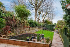 Garden with large workshop