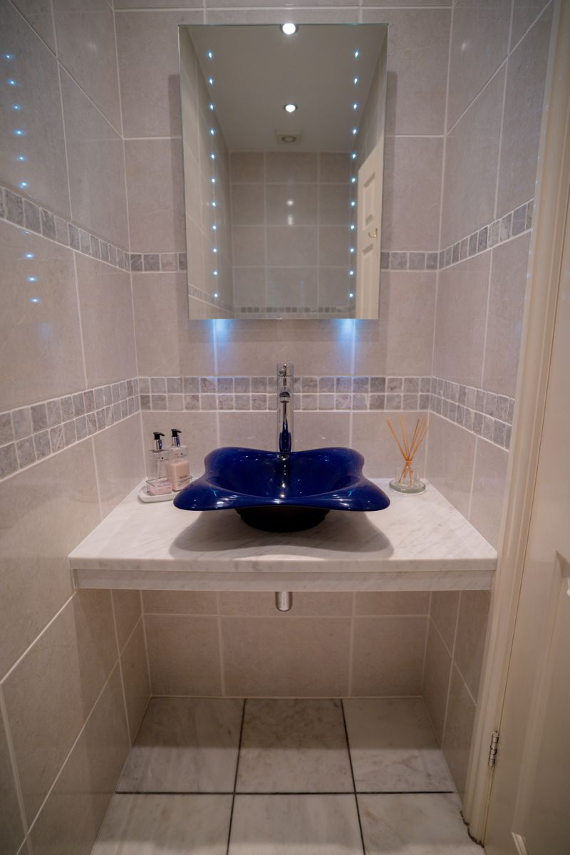 Feature basin in downstairs cloakroom