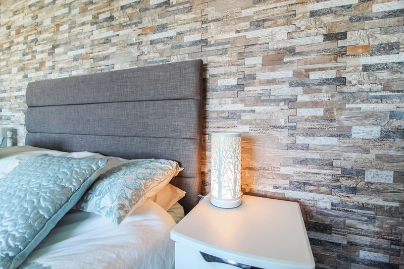 Tiled bedroom feature wall