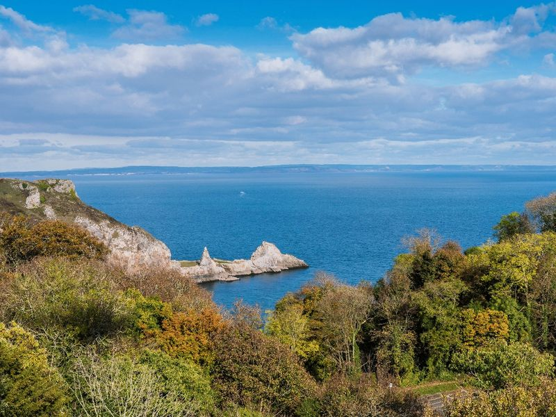 View across Lyme Bay from Sachs Lodge